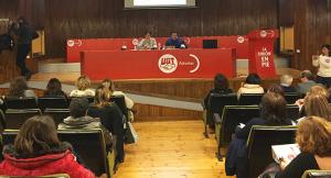 Los dirigentes sindicales en la apertura de la jornada sobre violencia de género en el ámbito laboral.