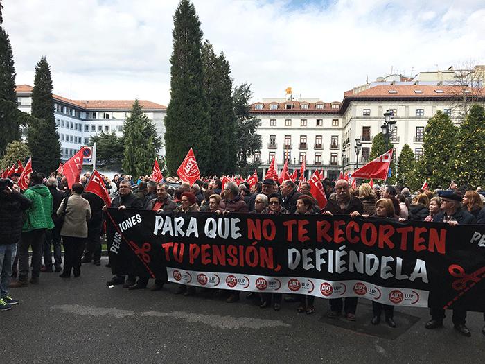 Pancarta de la Unión de Pensionistas y Jubilados de UGT